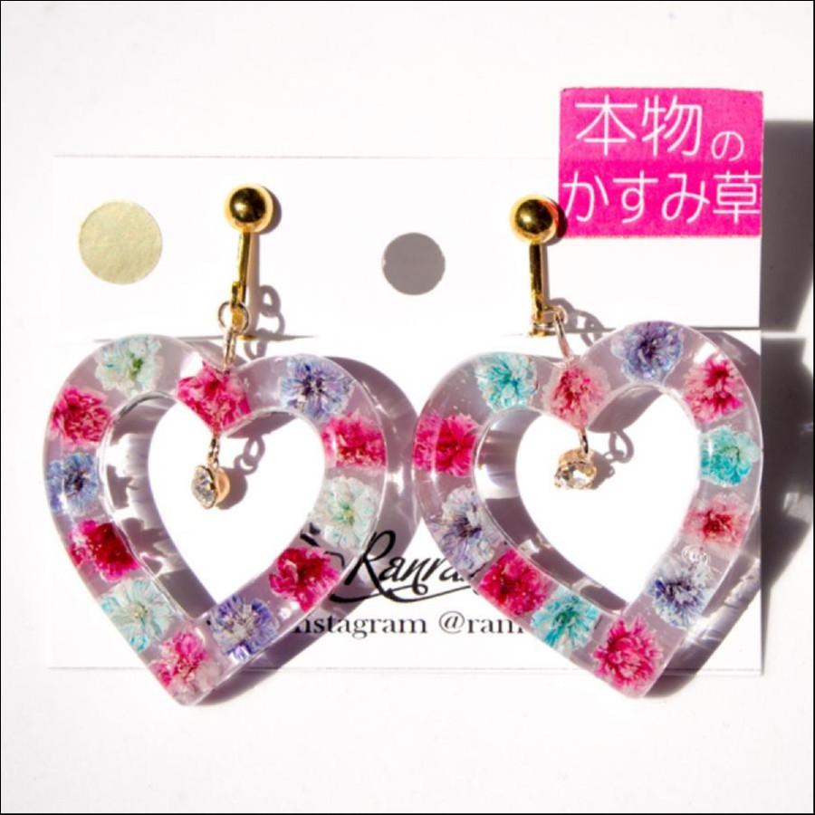 【期間限定販売】RAN♥RAN 本物のお花*カスミ草の大きなハートのイヤリング(ピアス交換OK)