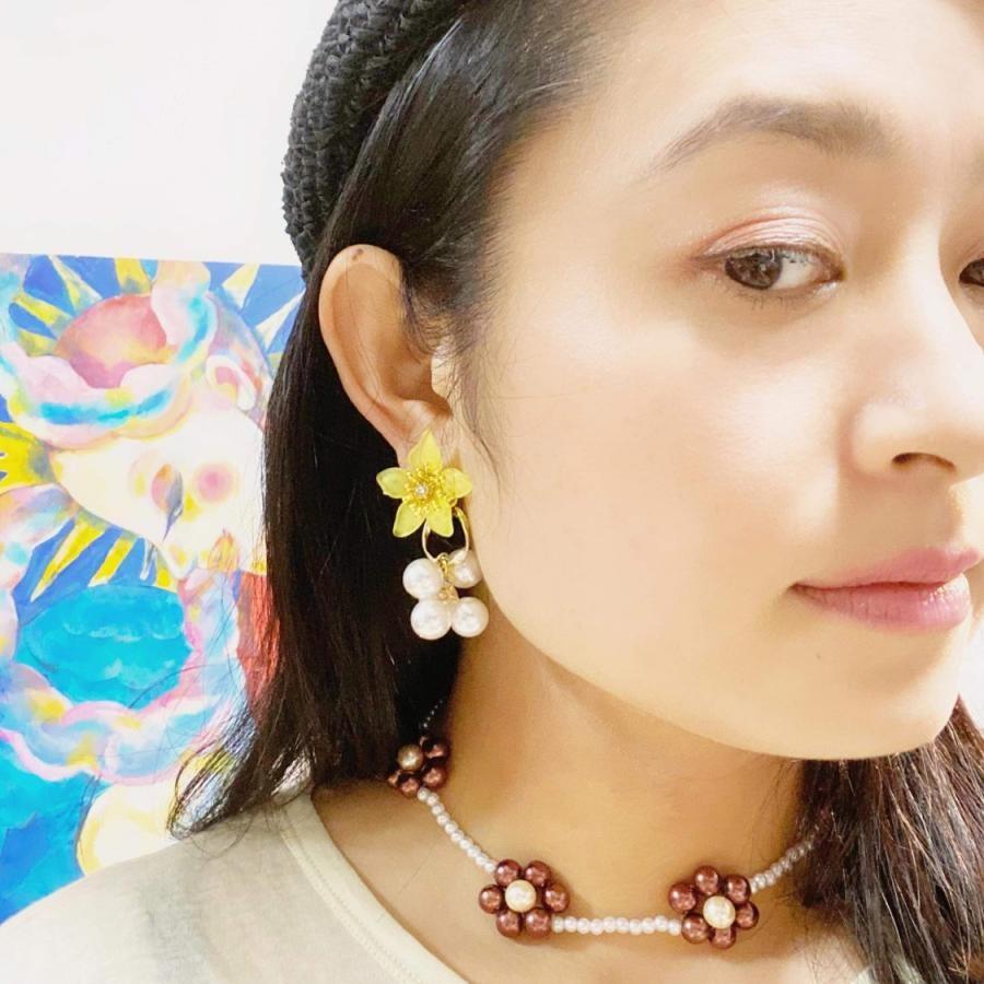 YURI YURIの花シリーズ ジャラジャラパール イヤリング・ピアス (YW)