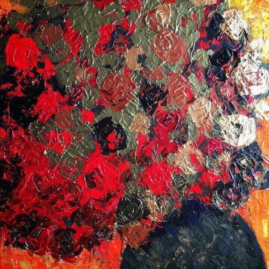中島淳一『薔薇』F40 絵画