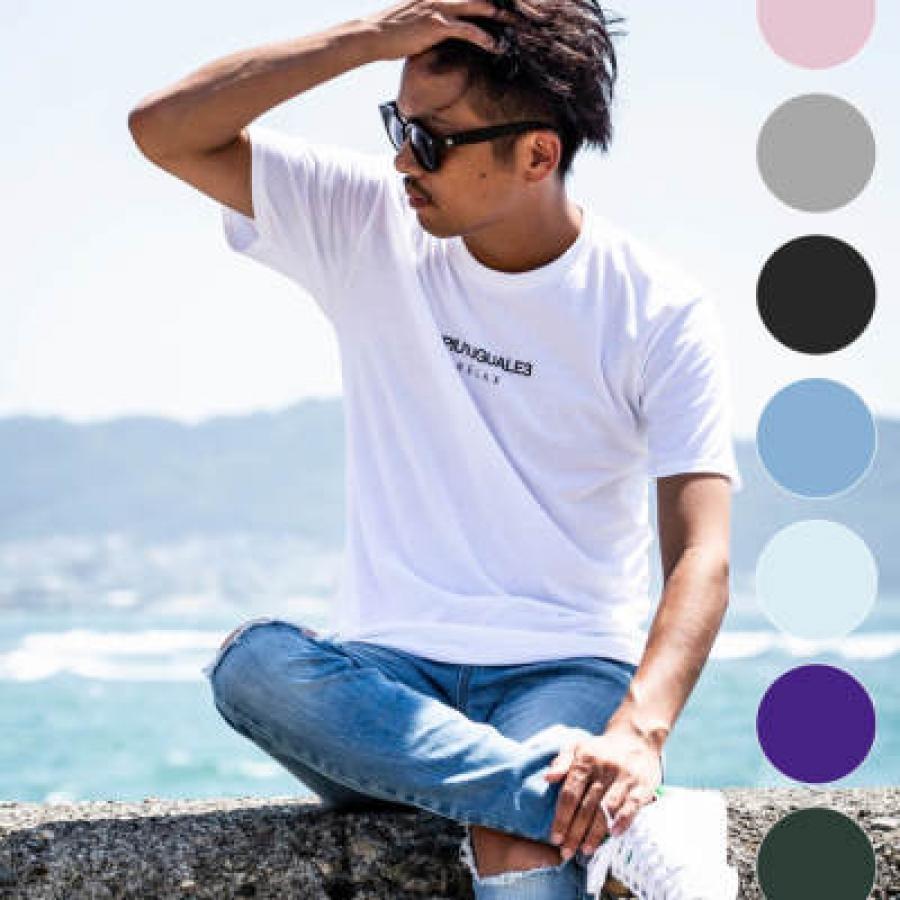 1PIU1UGUALE3 RELAX(ウノピゥウノウグァーレトレ) フロントロゴプリントTシャツ(ホワイト/ピンク/チャコール/ブラック/ロイヤルブルー/ライトブルー/パープル/ダークグリーン/ネイビー)