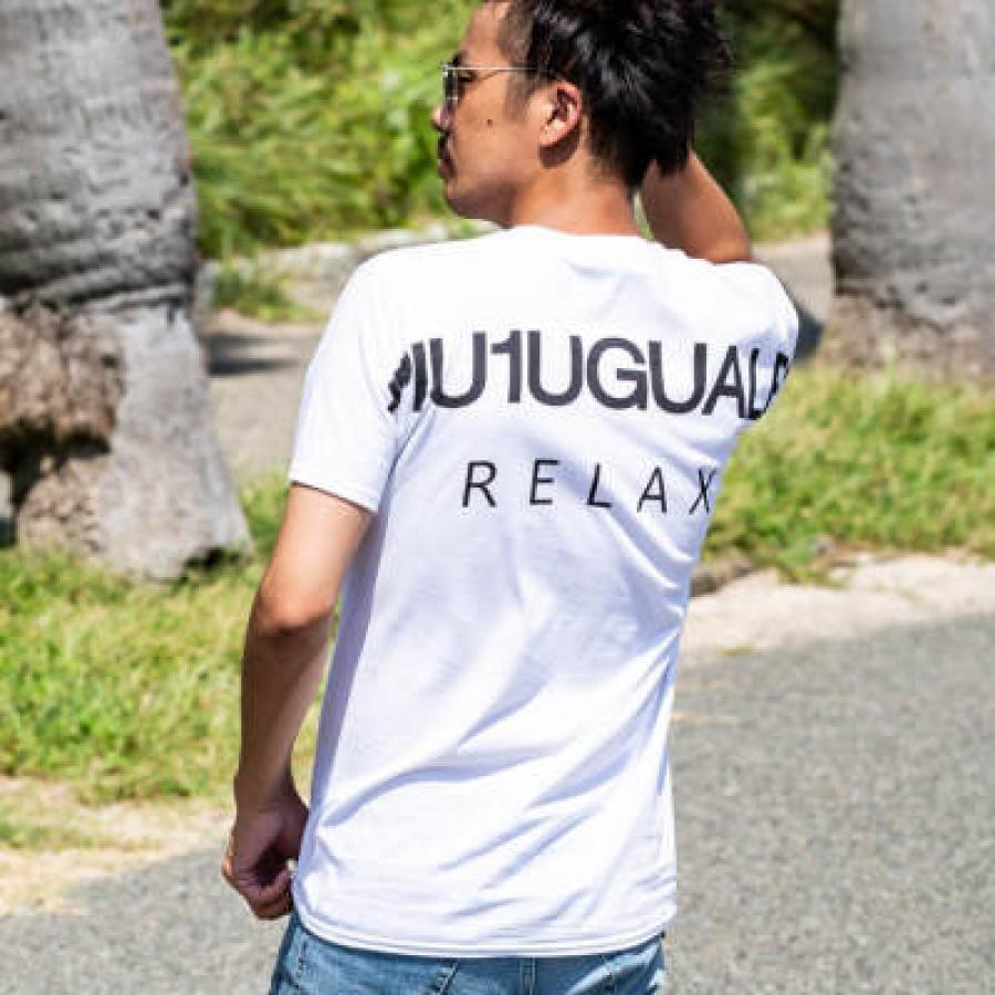 1PIU1UGUALE3 RELAX(ウノピゥウノウグァーレトレ) バックロゴプリントTシャツ(ホワイト/ピンク/チャコール/ブラック/ロイヤルブルー/ライトブルー/パープル/ダークグリーン/ネイビー)