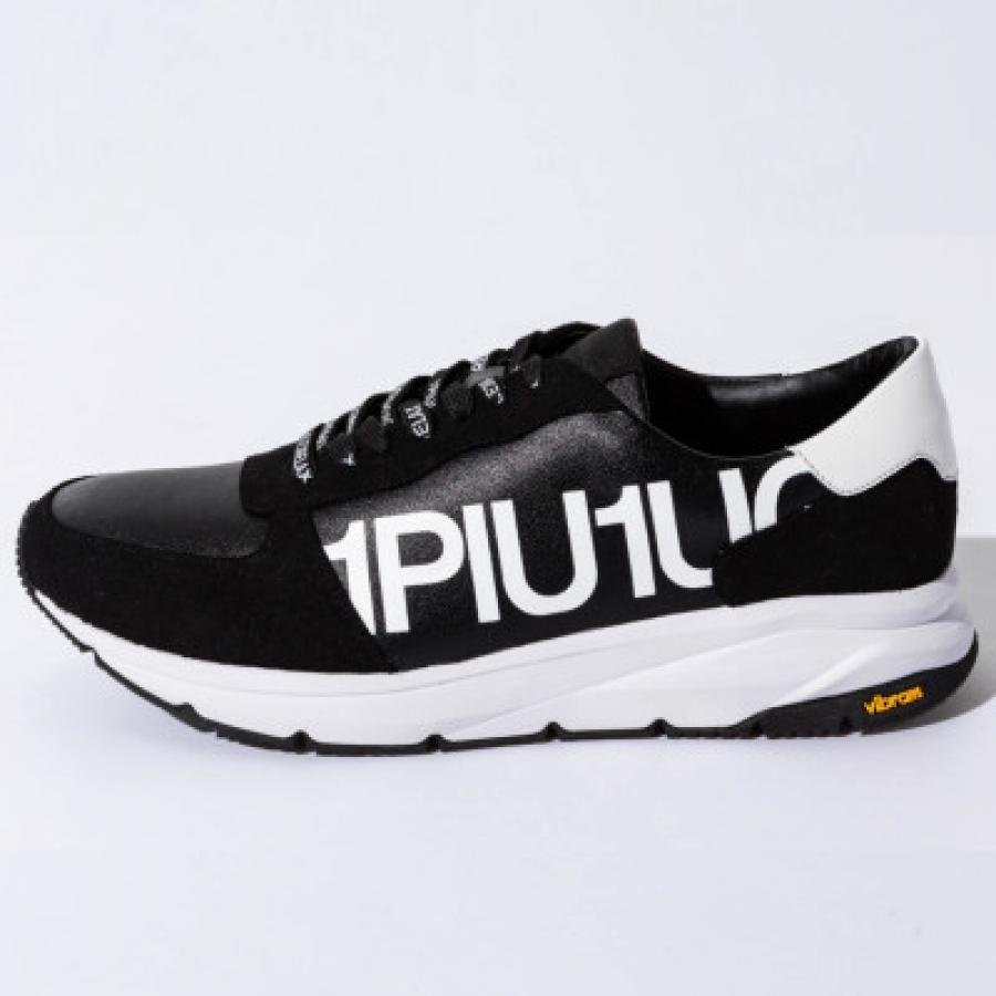 1PIU1UGUALE3 RELAX(ウノピゥウノウグァーレトレ)アタックロゴスニーカー(ホワイト/ブラック)