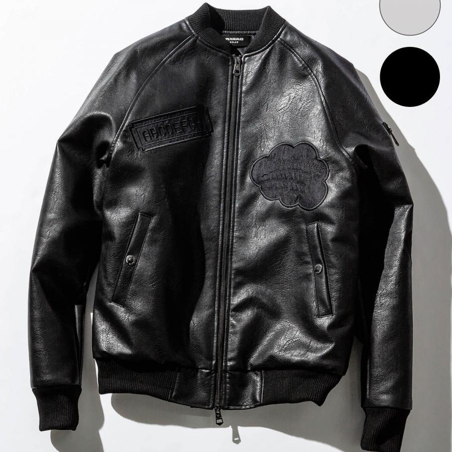 ワッペンデザインレザーボンバージャケット(ベージュ/ブラック)