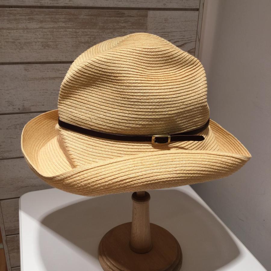 マチュアーハ mature ha. BOXD HAT 11㎝ brim leather belt
