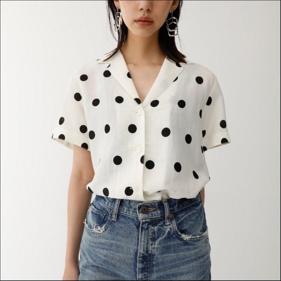 HALF SLEEVE LINEN DOT シャツ