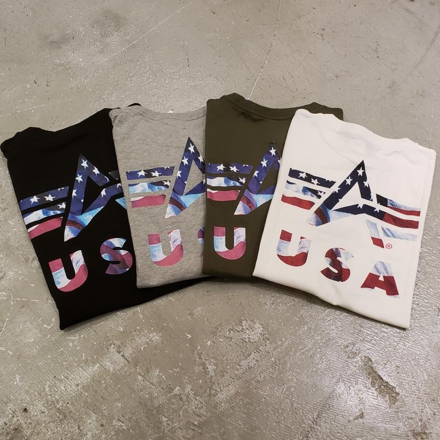 S/S BACK U.S.A FLAG A MARK PRINT Tee