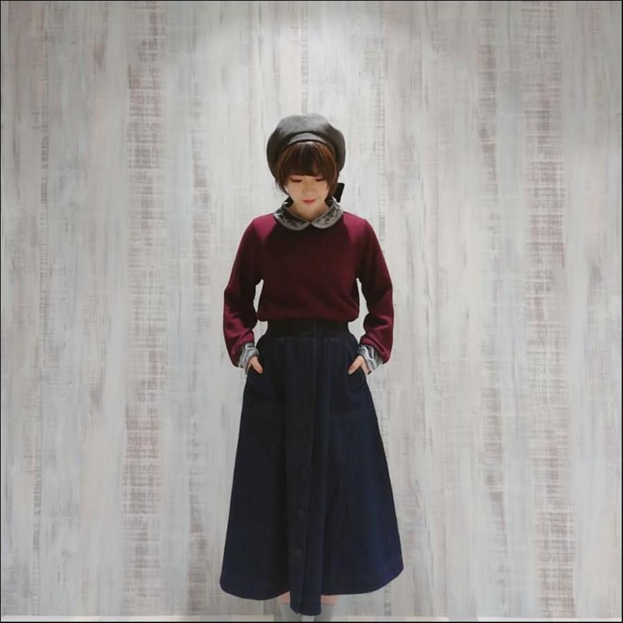 ニットソーベロア刺繍衿プルオーバー