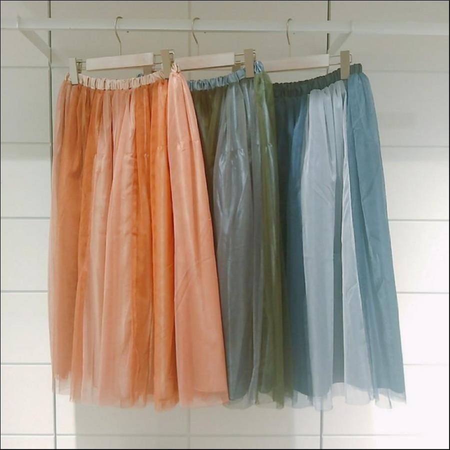 チュール配色ギャザースカート