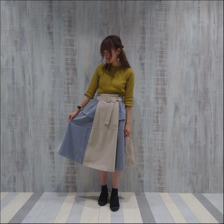 ピーチ配色ペプラムスカート