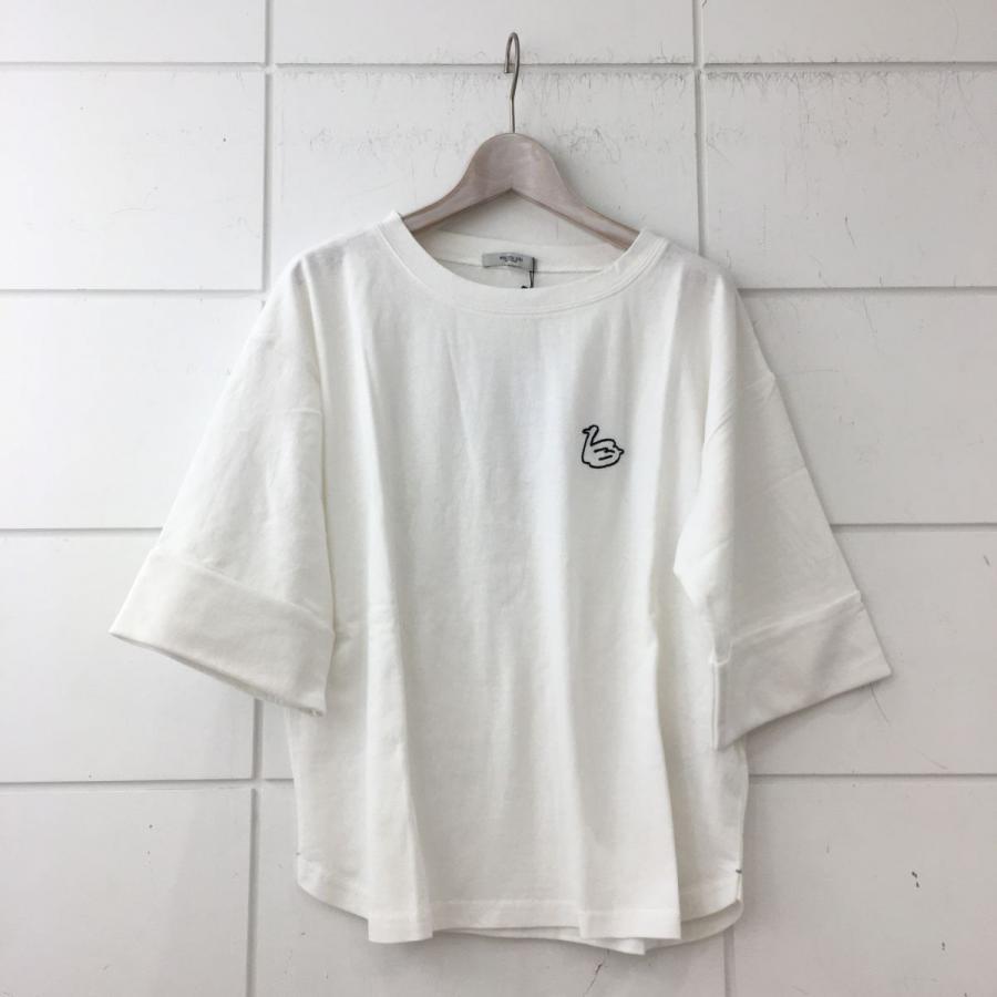 USコットン 袖ロールアップスワン刺繍Tシャツ