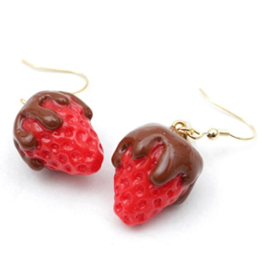 チョコディップ苺のピアス・イヤリング
