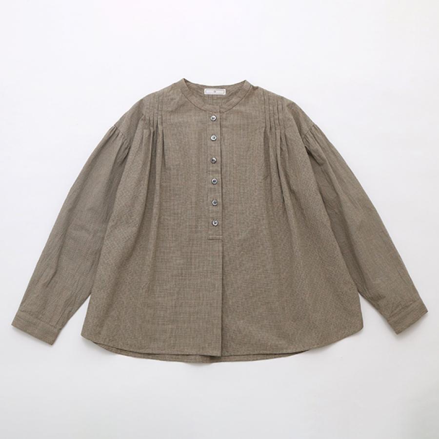 コットンタック マイクロチェックシャツ キャメル / D
