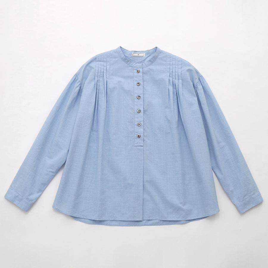 コットンタック マイクロチェックシャツ サックス / D