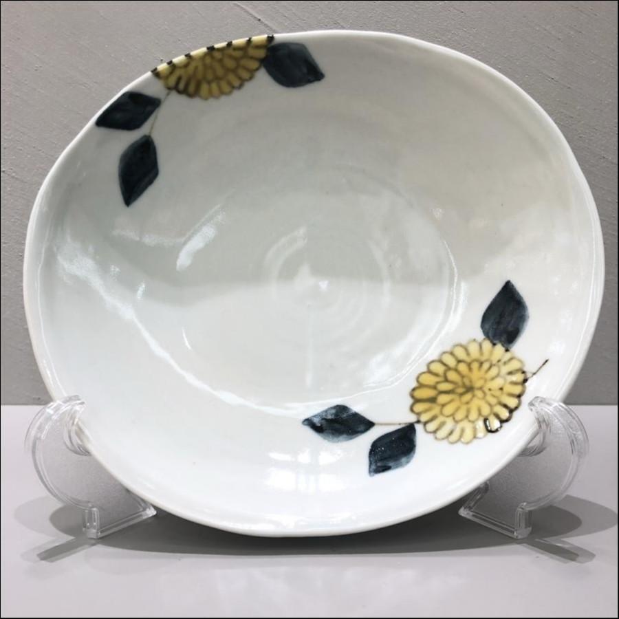 九谷青窯 色絵菊 楕円平鉢 中