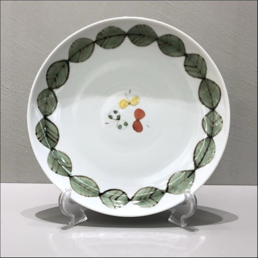 九谷青窯 色絵葉っぱと蝶 7寸皿