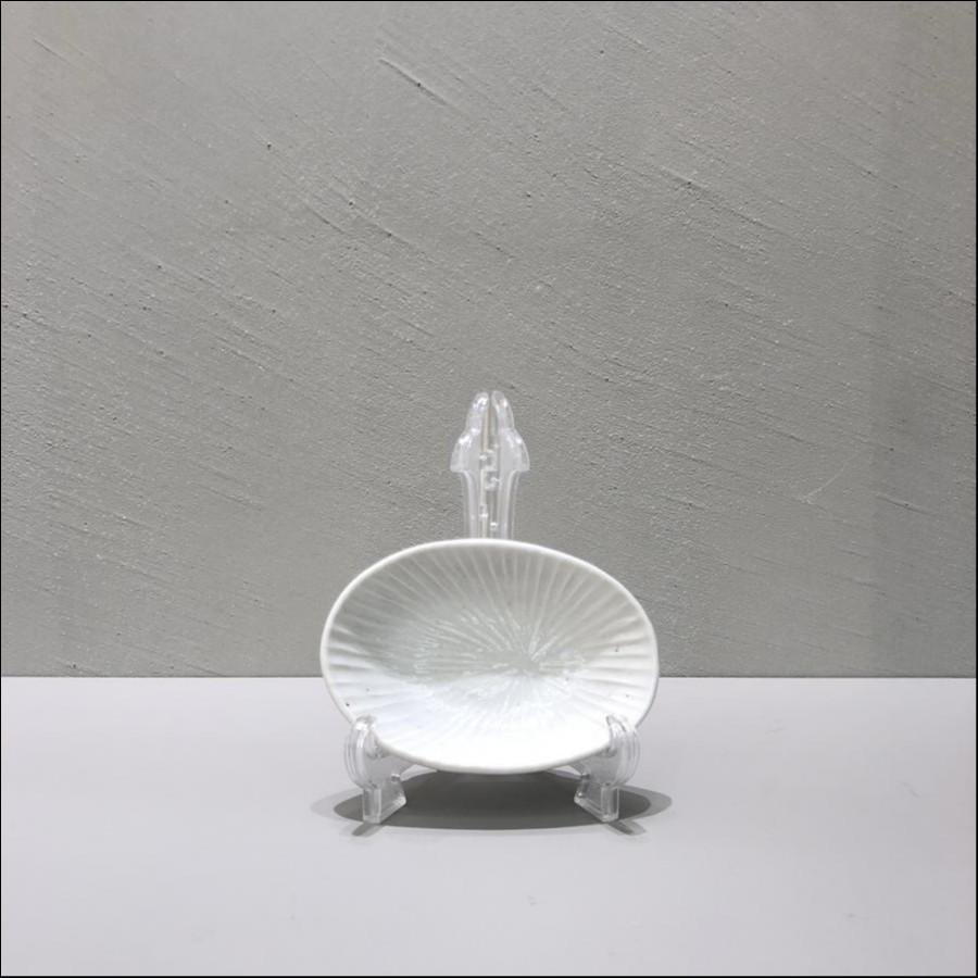 九谷青窯 白磁内しのぎ 楕円鉢(3寸)