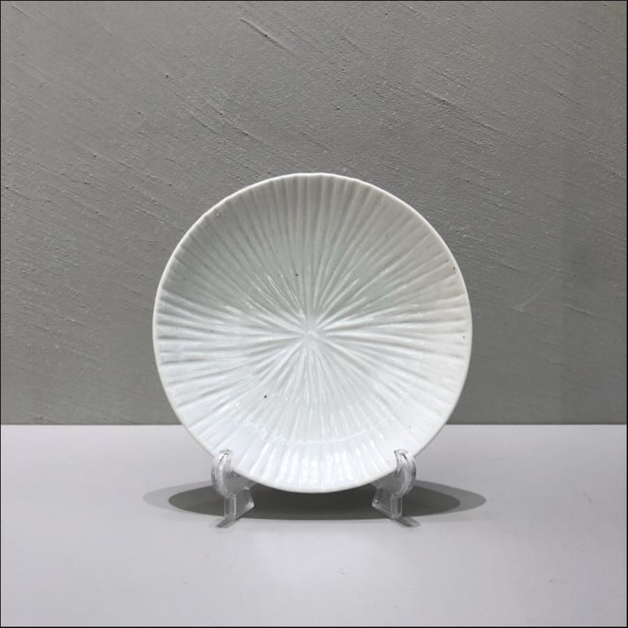 九谷青窯 白磁内しのぎ 4.5寸皿