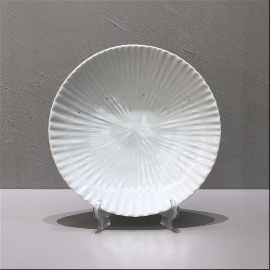 九谷青窯 白磁内しのぎ 5.5寸皿