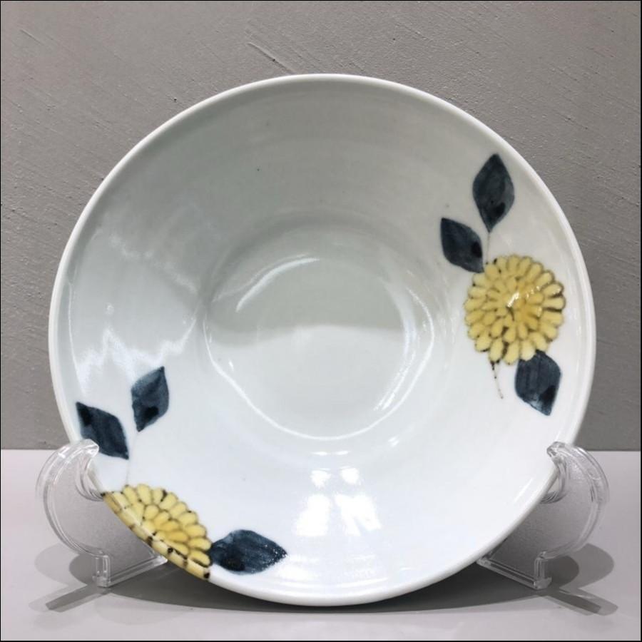 九谷青窯 色絵菊 7寸深皿