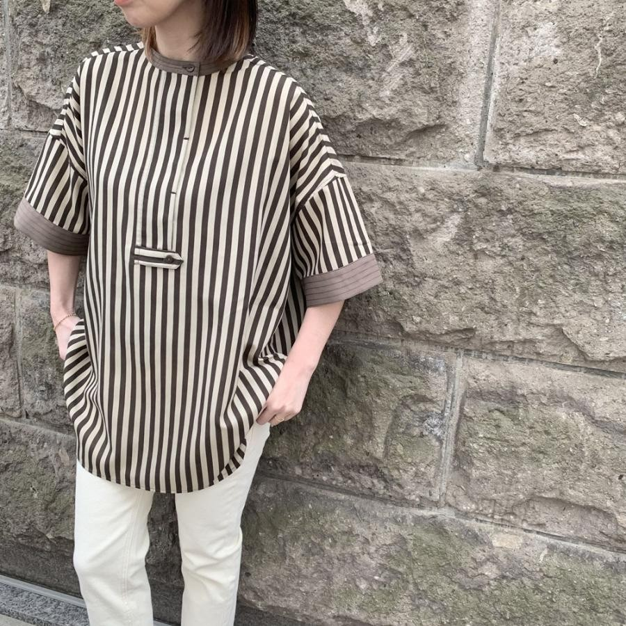 ステッチポイントスキッパーシャツ[Colorストライプ][フリーサイズ]