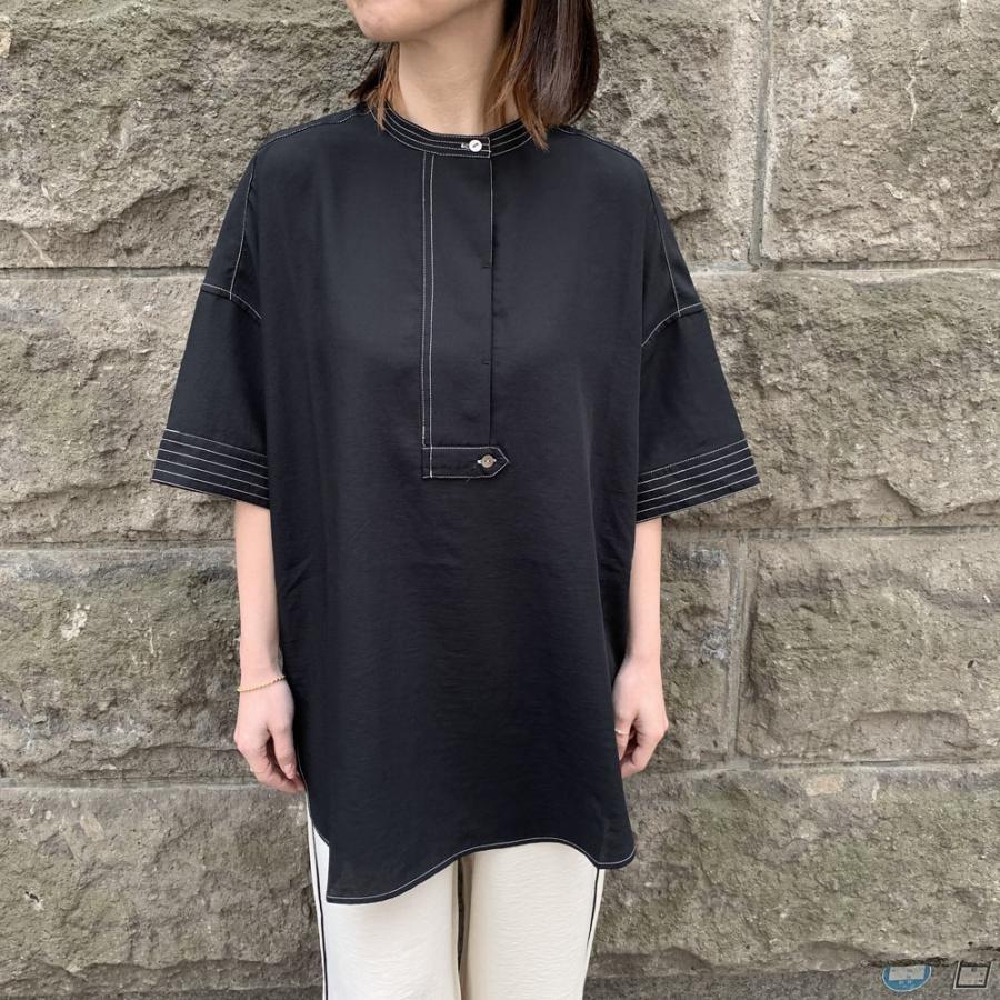 ステッチポイントスキッパーシャツ[Colorブラック][フリーサイズ]