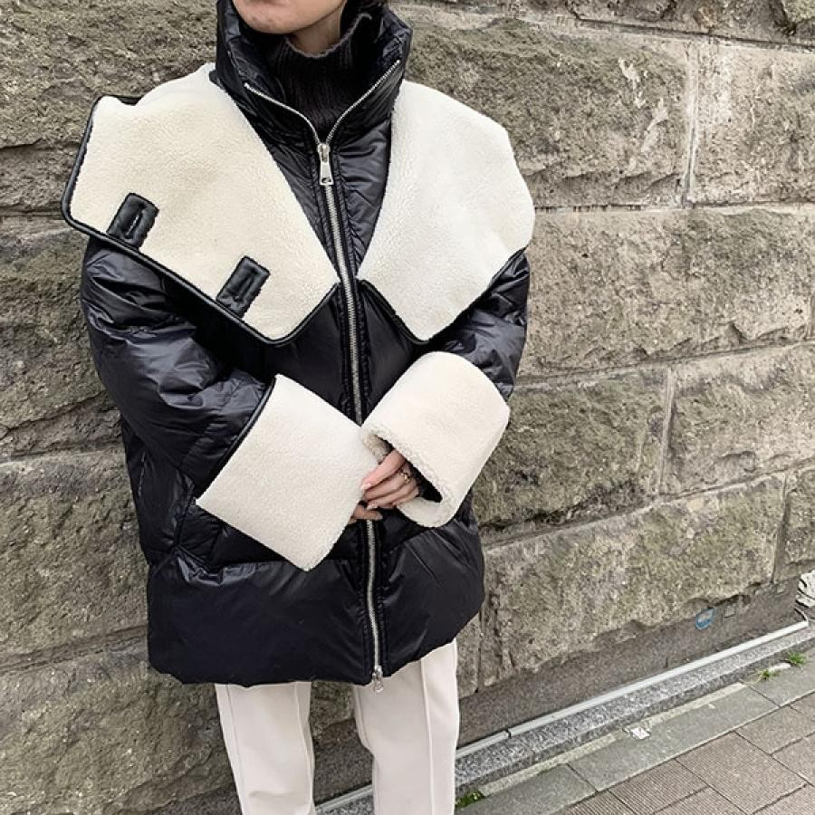 ボアMIXダウンジャケット[Color:ブラック]
