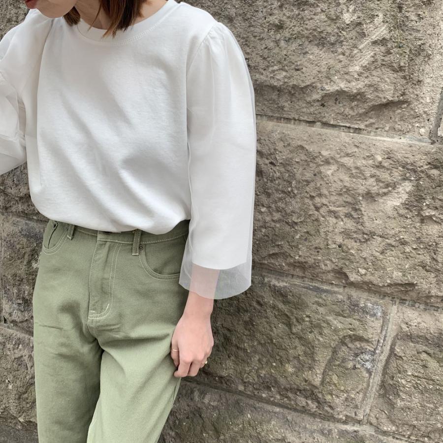 チュールシアースリーブ top[Colorホワイト][フリーサイズ]