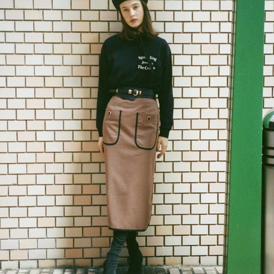 配色パイピングアウトポケット釦付きタイトスカート