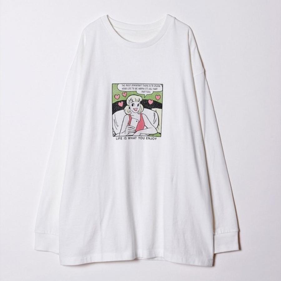 GIRLアメコミプリントロングスリーブTシャツ