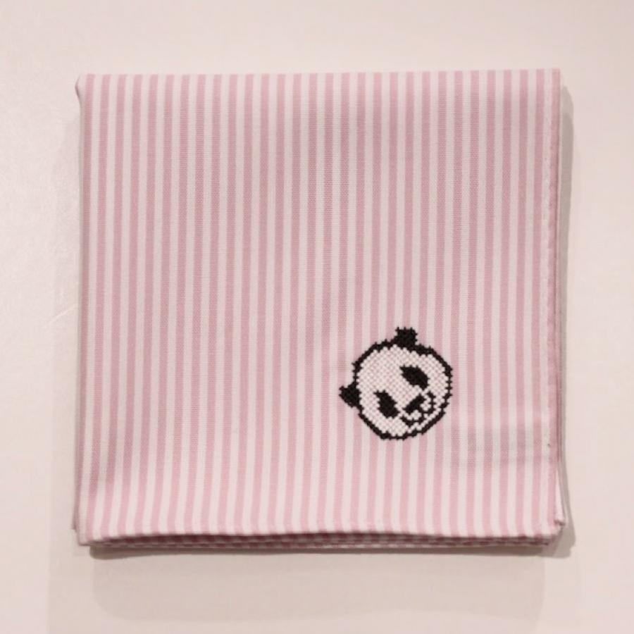 【上野店限定】パンダ刺繍入りハンカチ/ピンクロンドンストライプ