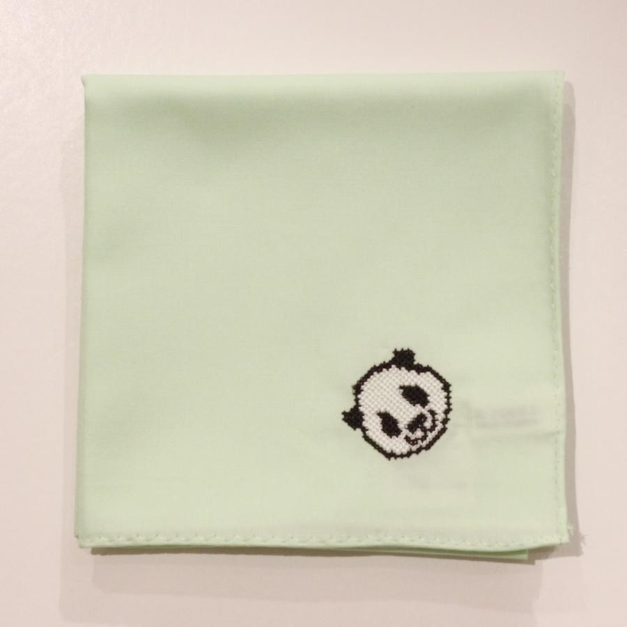 【上野店限定】パンダ刺繍入りハンカチ/ライトグリーン