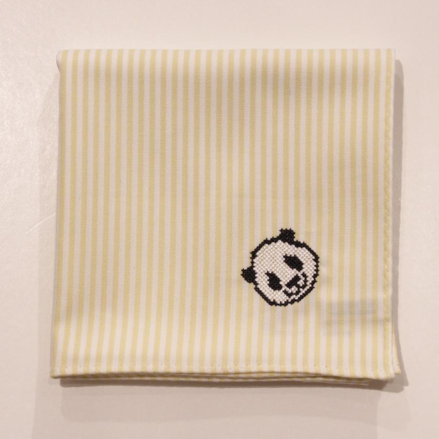 【上野店限定】パンダ刺繍入りハンカチ/イエローロンドンストライプ