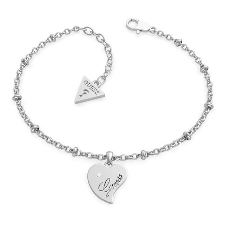 QUEEN OF HEART Chain Heart Pendant Bracelet (Silver)