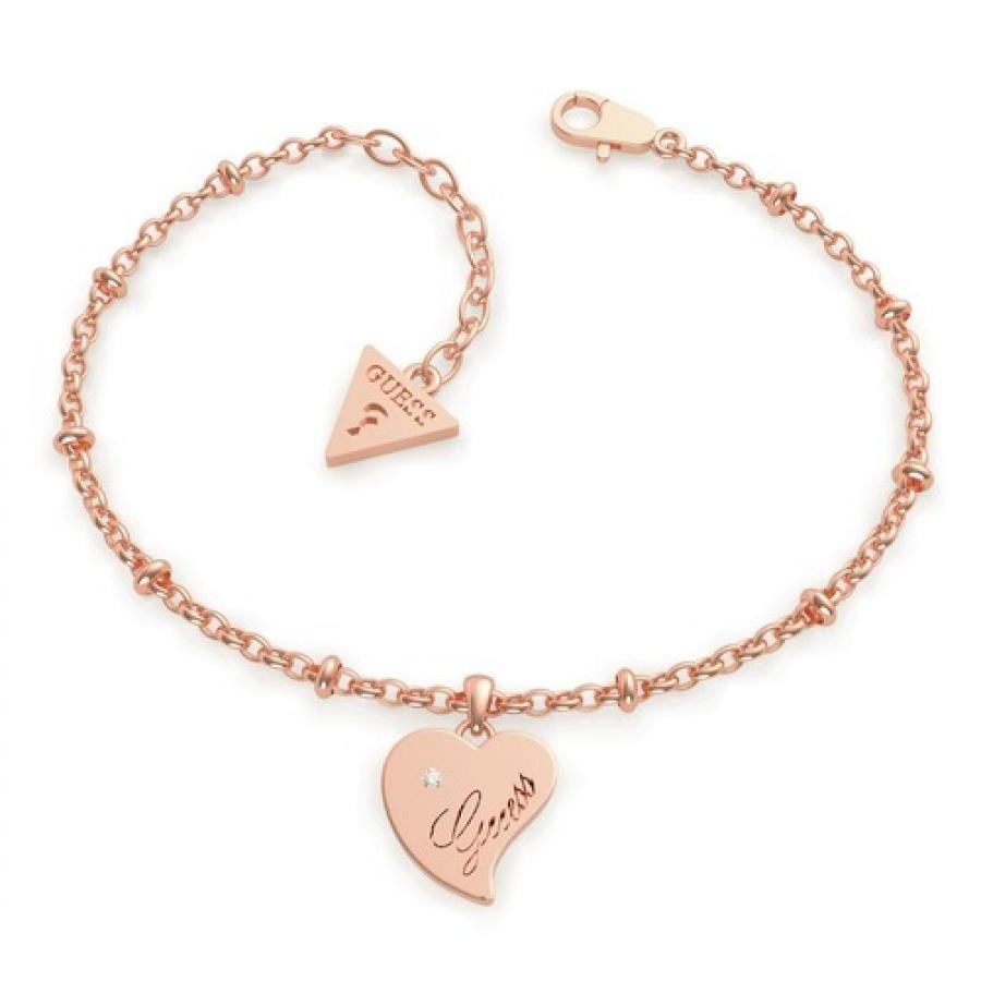 QUEEN OF HEART Chain Heart Pendant Bracelet (Rose Gold)
