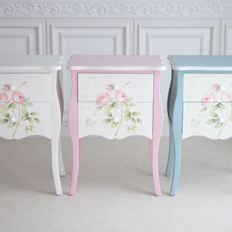 世界に一つだけの花ハンドペイント・各色  薔薇の2段ナイトテーブル