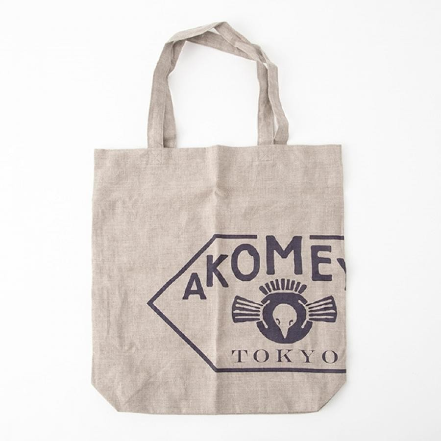 AKOMEYA linen100% bag (made in Japan) ベージュxネイビー トートバッグ