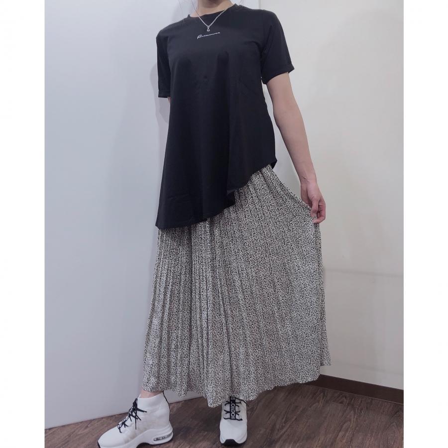 アニマルドット柄ロングプリーツスカート