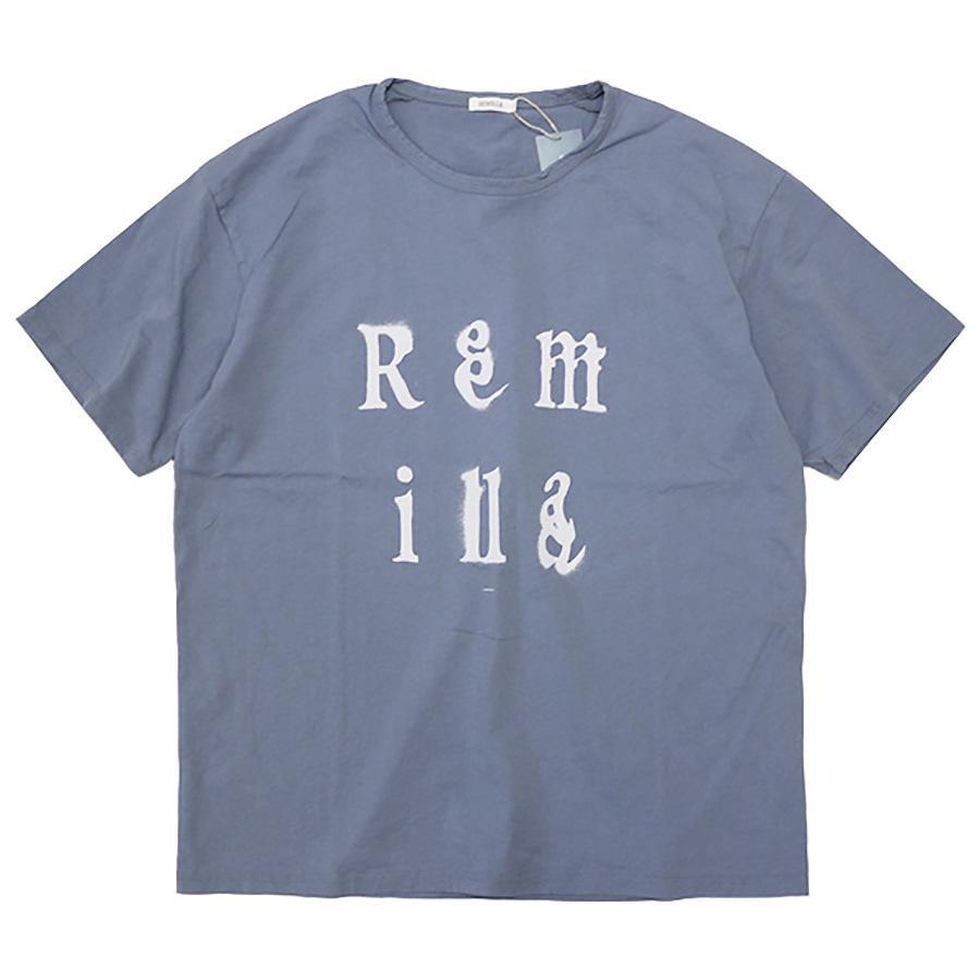 M,Lsize / REMILLA レミーラ : 半袖ステンシルロゴTシャツ/Blue Gray (R211207 Remilla Tee)