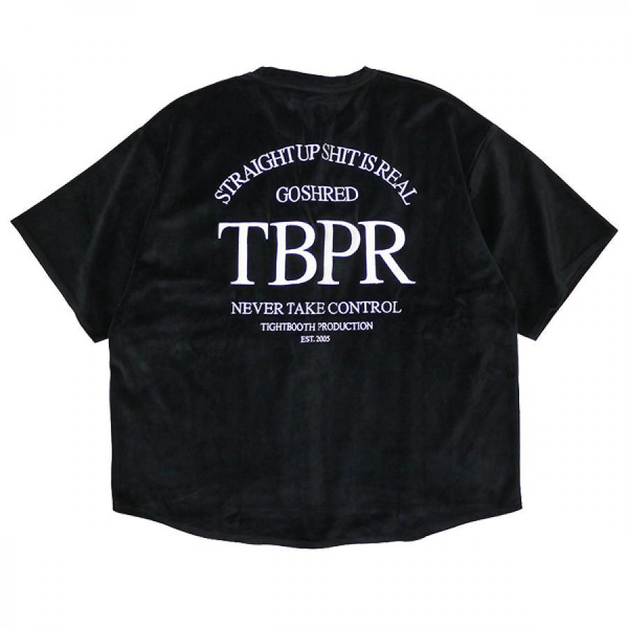 M,Lsize / TIGHTBOOTH タイトブース : 半袖ストレートアップロゴ ベロアTシャツ/Black ( 2021秋冬 FW21-T02 STRAIGHT UP CIMA S/S )