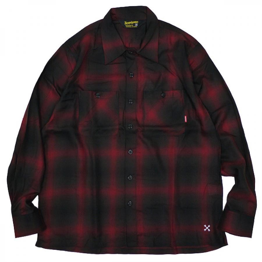 M,L,XLsize  / BLUCO ブルコ : 長袖オンブレーチェック ワークシャツ/Red (OL-109TO-021 OMBRE WORK SHIRTS L/S )