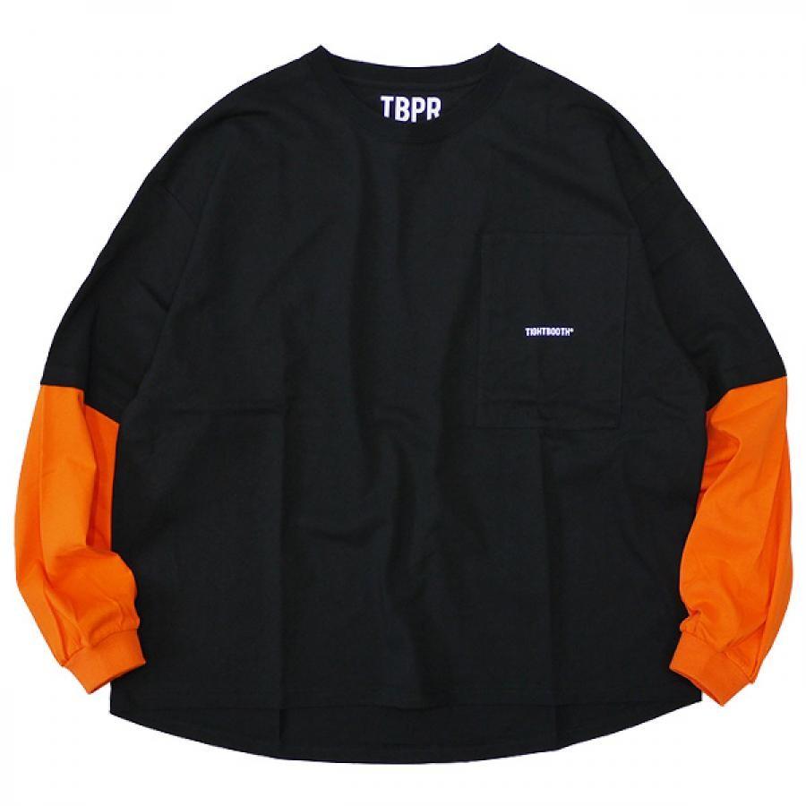 Msize / TIGHTBOOTH タイトブース : レイヤード ロゴTシャツ/Black×Orange (2021秋冬 FW21-T01 LAYERED L/S T-SHIRT )