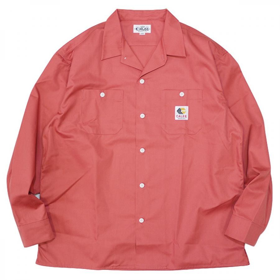 Lsize / CALEE キャリー : 長袖ツイルワークシャツ/Pink (CL-21AW006 T/C Twill L/S work shirt )