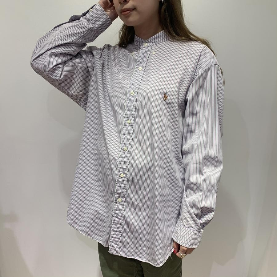 Ralph Lauren remake no collar stripe shirt