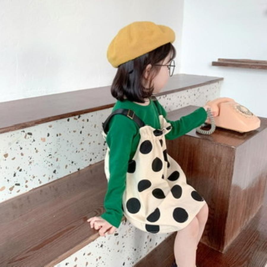 green long sleeve tops +dot jumper skirt(set)