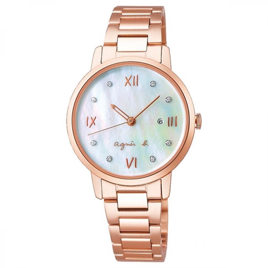 agnes b. アニエスベー SEIKO セイコー Marcello マルチェロ FCSK914 ホワイト×ピンクゴールド レディース 腕時計