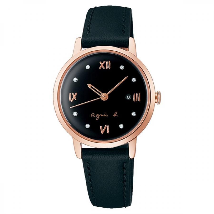 agnes b. アニエスベー SEIKO セイコー Marcello マルチェロ FCSK912 ブラック×ピンクゴールド レディース 腕時計