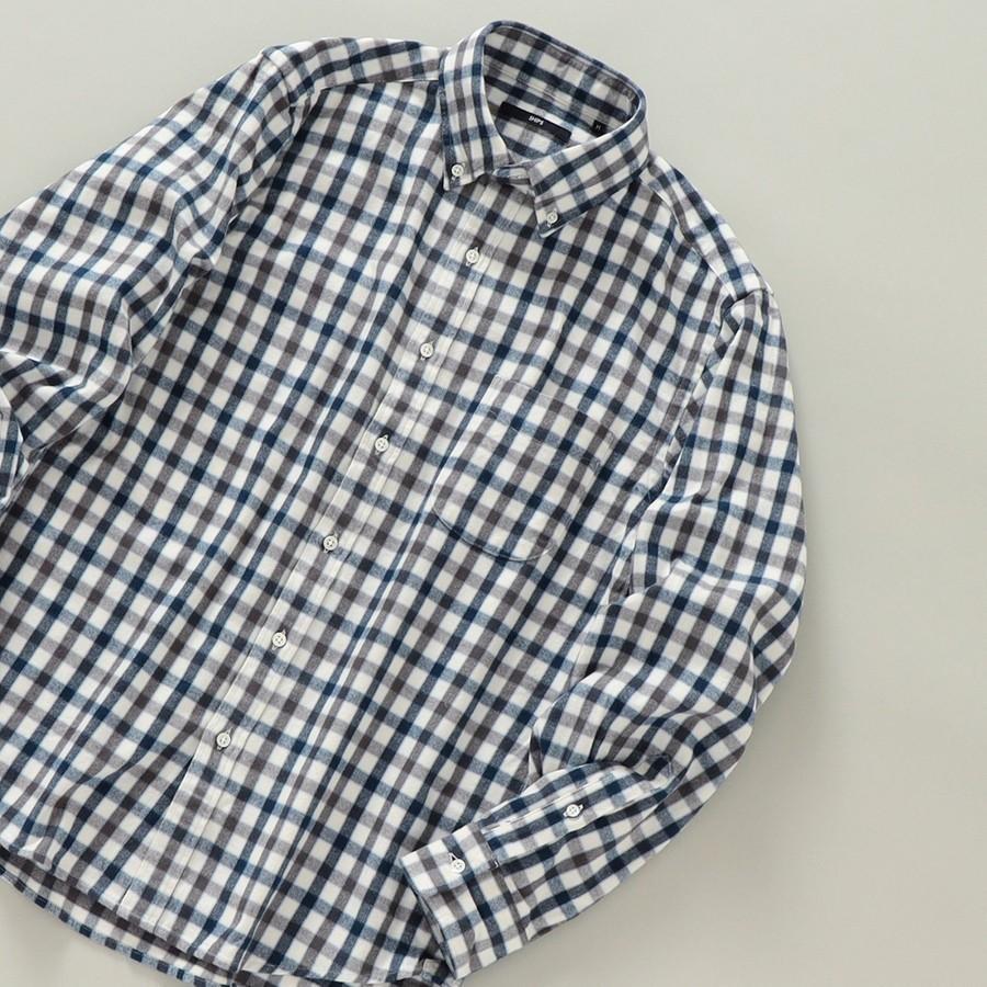 SHIPS: 播州織 フェザー ギンガムチェック ボタンダウン ネルシャツ