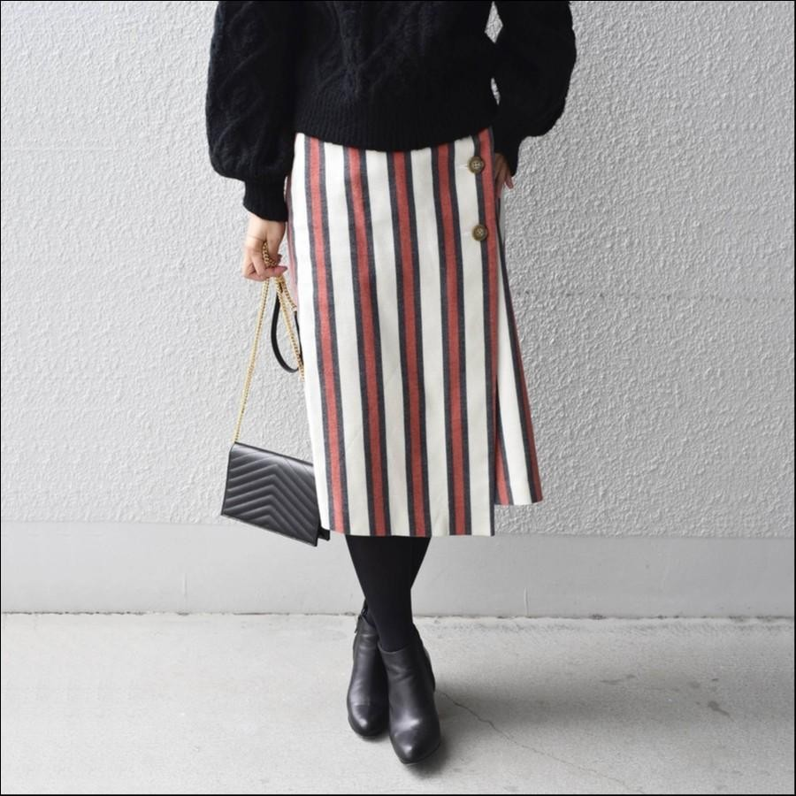 Khaju:ストライプラップタイトスカート