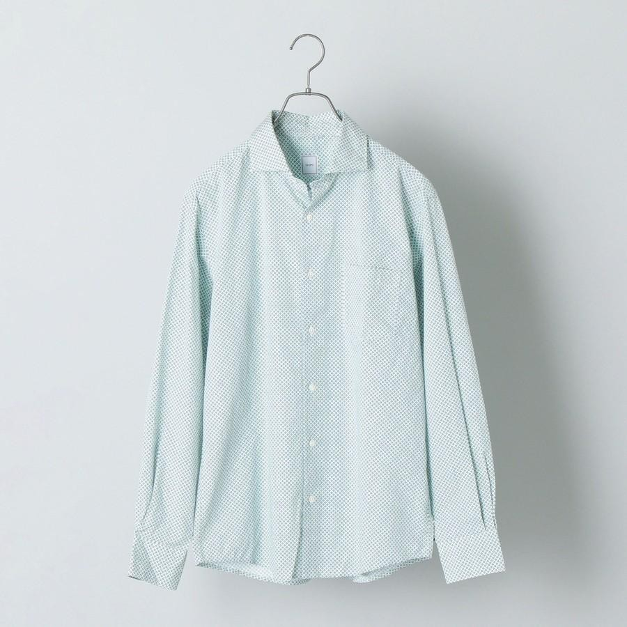 SHIPS: セミワイドカラー モチーフ柄 シャツ