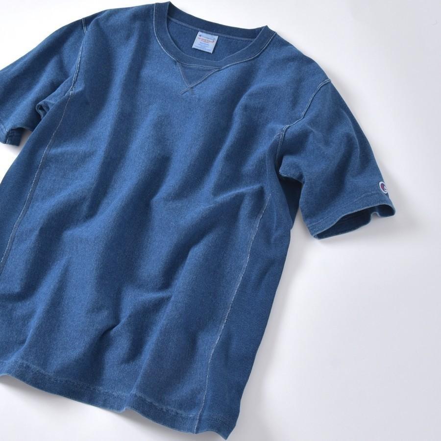 Champion×SHIPS: 別注 リバースウィーブ(R) 9.4oz インディゴ ジャージー Tシャツ